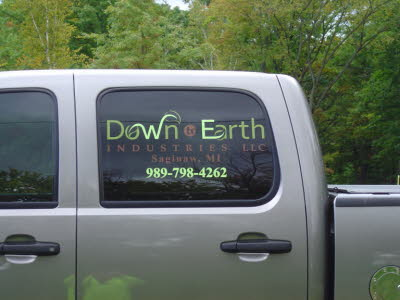 Down To Earth Industries, Lawncare, Landscaping Company Truck, Truck Lettering, Truck Graphics, Contractor Truck Lettering, Contractor Truck Graphics
