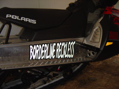 Club Name Decal in Reflective over Black Vinyl on Snowmobile Tunnel, Arctic Cat, Ski Doo, Ski Whiz, Massey Fergusen, Husky Snowmobiles