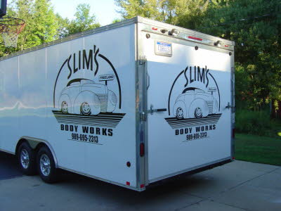 Slims Body Works, Enclosed Car Hauler Graphics and Decals, Contractor Trailer Lettering, Contractor Trailer Graphics, Enclosed Trailer Graphics, Enclosed Trailer Wraps, Graphics, Wraps, Lettering